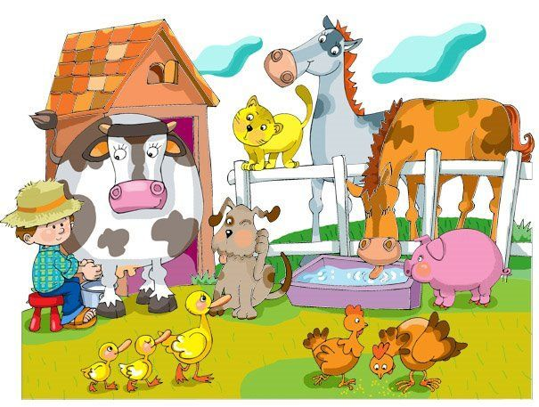TOUCH this image: Loeiende koe, Paard hinnikt, varken knort, hond blaft, ka... by Axelle