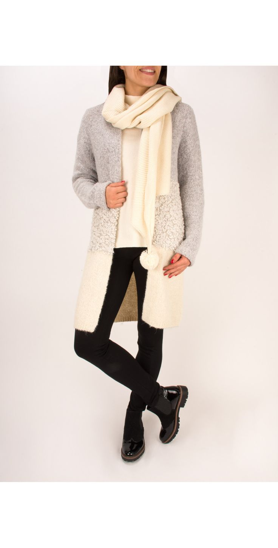 Sandwich Clothing Long Alpaca Wool Cardigan in Chalk