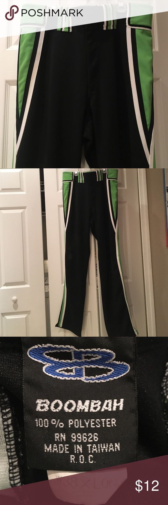 Boombah men's softball pants 38x36 Boombah Men's Softball pants 38 long. Black with white and lime green vertical stripes. Missing too snap. boombah Pants Sweatpants & Joggers