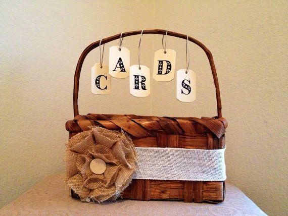 Country Chic Card Basket // Wedding Card Basket // Wedding Decor on Etsy, $25.00
