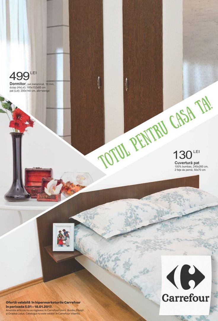 Catalog Carrefour Totul pentru casa ta Ianuarie 2017! Oferte: comoda cu 2 usi, pal melaminat 139 lei; masuta pal melaminat 16 mm, stejar + wenge 59,90 lei