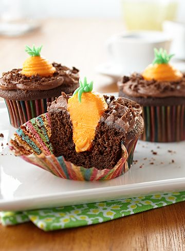 Go ahead, try not to smile when you discover the surprise inside these charming spring cupcakes. The Land O'Lakes Foundation will donate $1 to Feeding America® for every recipe pinned through April 30, 2015. (Pin any Land O'Lakes recipe or submit any recipe pin at LandOLakes.com/pinameal).