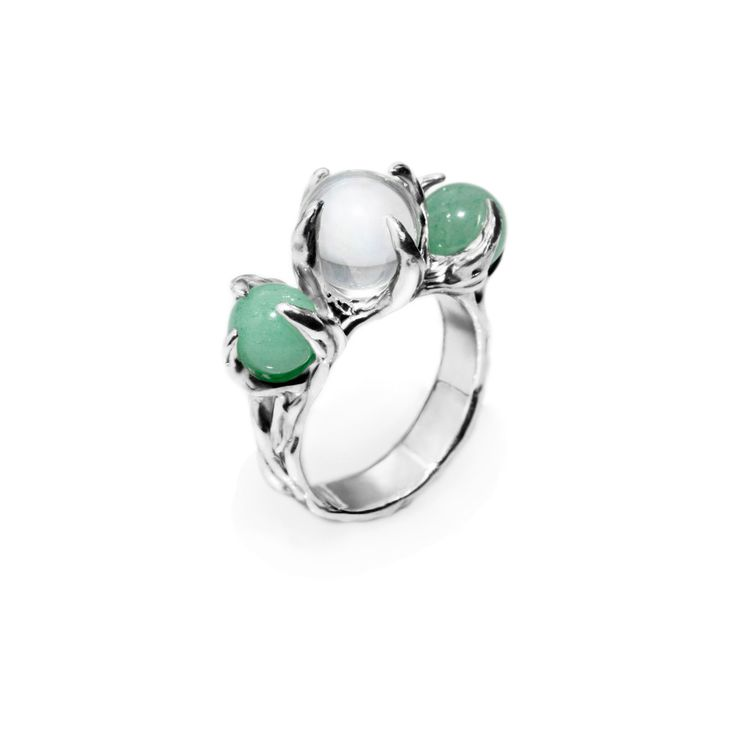 SPHERE RING ORION WITH CLEAR QUARTZ AND AVENTURINE #pulse_jewellery  #sterling #silver #925 #jewellery #jewelry #ring #rings #fluid #liquid #sphere #gemstone #clear #quartz #aventurine