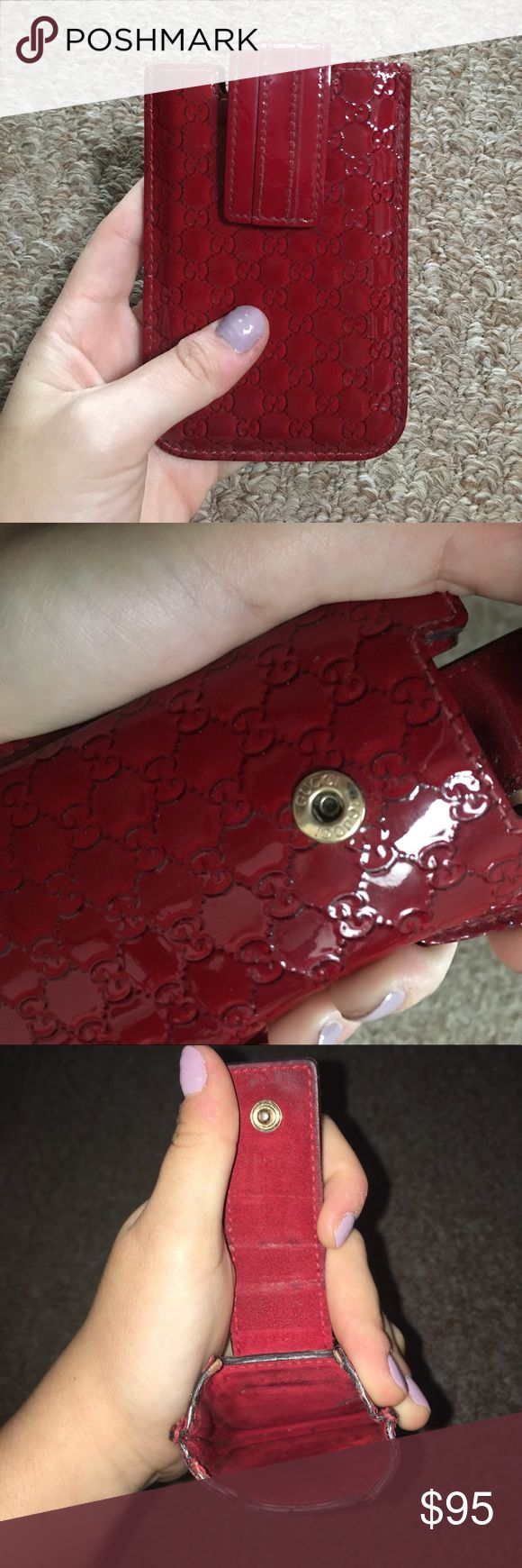 Authentic Gucci Credit Card Case Red authentic Gucci credit card case. Patent leather. In good condition! Showed pictures of wear. Gucci Bags Wallets