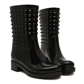 $36.42 Trendy Solid Color and Rivets Design Rain Boots For Women