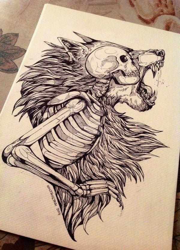 """Really cool art! I love how it shows the human skeleton/essence inside of the wolf outer form, thus showing a werewolf, and how a person is still underneath but the angry, uncontrollable wolf is in control and on the outside."""
