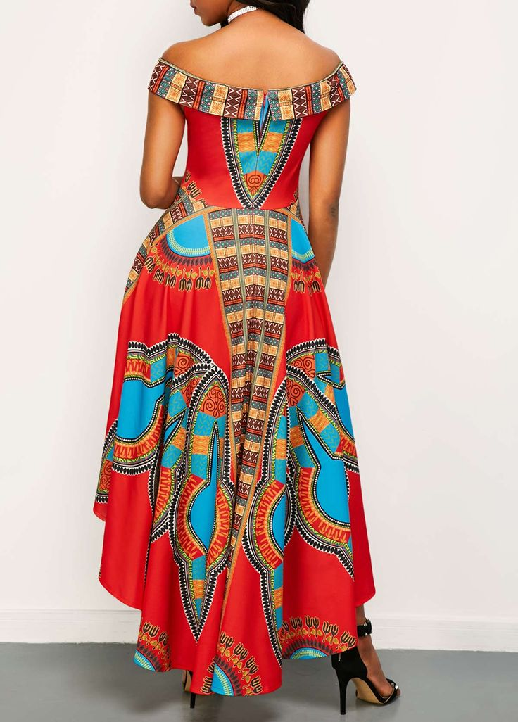 Off the Shoulder High Waist Dashiki Dress on sale only US$32.06 now, buy cheap Off the Shoulder High Waist Dashiki Dress at liligal.com