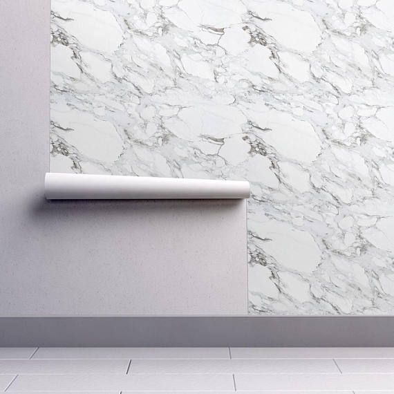 Faux Marble Wallpaper Carrera Marble By Willowlanetextiles Etsy Marble Wallpaper Marble Wallpaper Bedroom Carrera Marble
