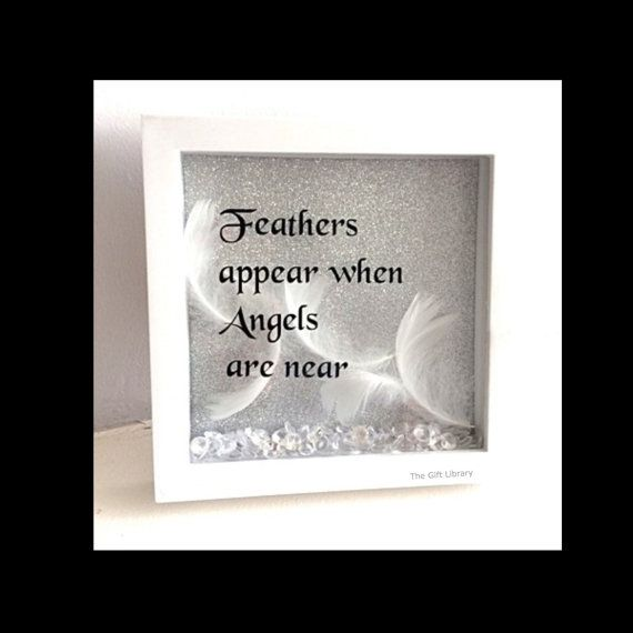 feathers appear when angels are near box frame shadow box frame gift in loving memory - Shadow Box Frames