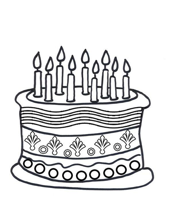 Birthday Cake Coloring Page Cakepins Com
