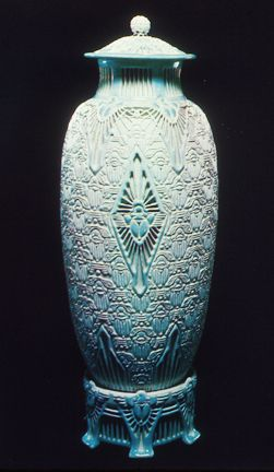 """Adelaide Alsop Robineau,""""The Scarab Vase"""" (The Apotheosis of the Toiler), 1910 -- Art & Antiques Magazine calls The Scarab Vase by Adelaide Alsop Robineau """"the most important piece of American ceramics in the past century."""" Sold in 2000 from one private collection to another for $ 162K"""