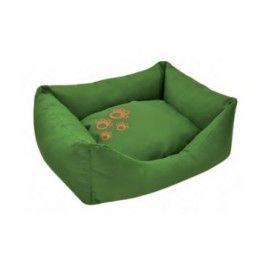 """Cuna fibra cuadrada """"Etisilk"""" verde liso/huella naranja. Resistente a la lluvia y a la humedad. Colores resistentes al sol. Resistente al agua de mar y piscina. Hecha de un material no alérgico. 100% reciclable. Se puede lavar con lejía.   Medidas disponibles: X: 53x43x22cm S: 65x53x22cm M: 79x62x22cm. Compra online en zazbuy.com. ENVIAMOS a domicilio a Gran Canaria, Tenerife, Fuerteventura, Lanzarote. #camaperros #perros #dogs #mascotas #pets"""
