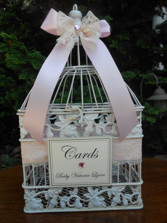 Pink Baby Shower Card Holder / Birdcage Card Holder / Card Box / Itu0027s A Girl