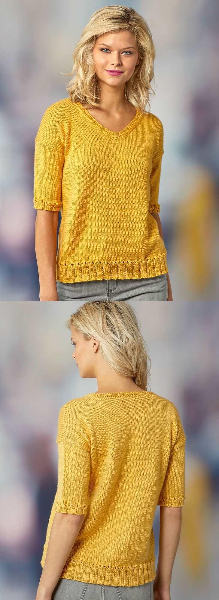 Padrão de tricô gratuito para um top de verão de manga curta