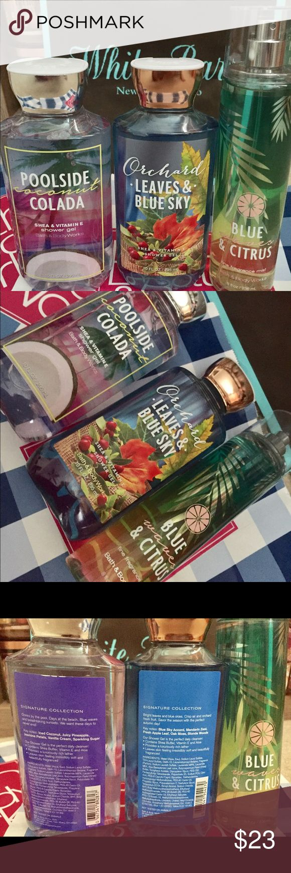 Bath and Body Works Shower Gel New and unused :) feel free to ask questions or pictures! :) cheaper in ♏️ if interested. * FFM Blue waves & Citrus *, * Shower Gels are Poolside coconut colada and Orchard leaves & sky * Bath and Body Works Other