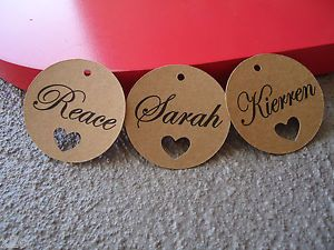10 Kraft Brown Circle Gift Favour Tags Heart Personalised Bomboniere Wedding | eBay