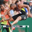 Angelo Taylor competes in the men's 400m hurdles qualifiers