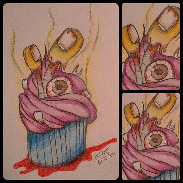 эскиз тату пирожное глаз