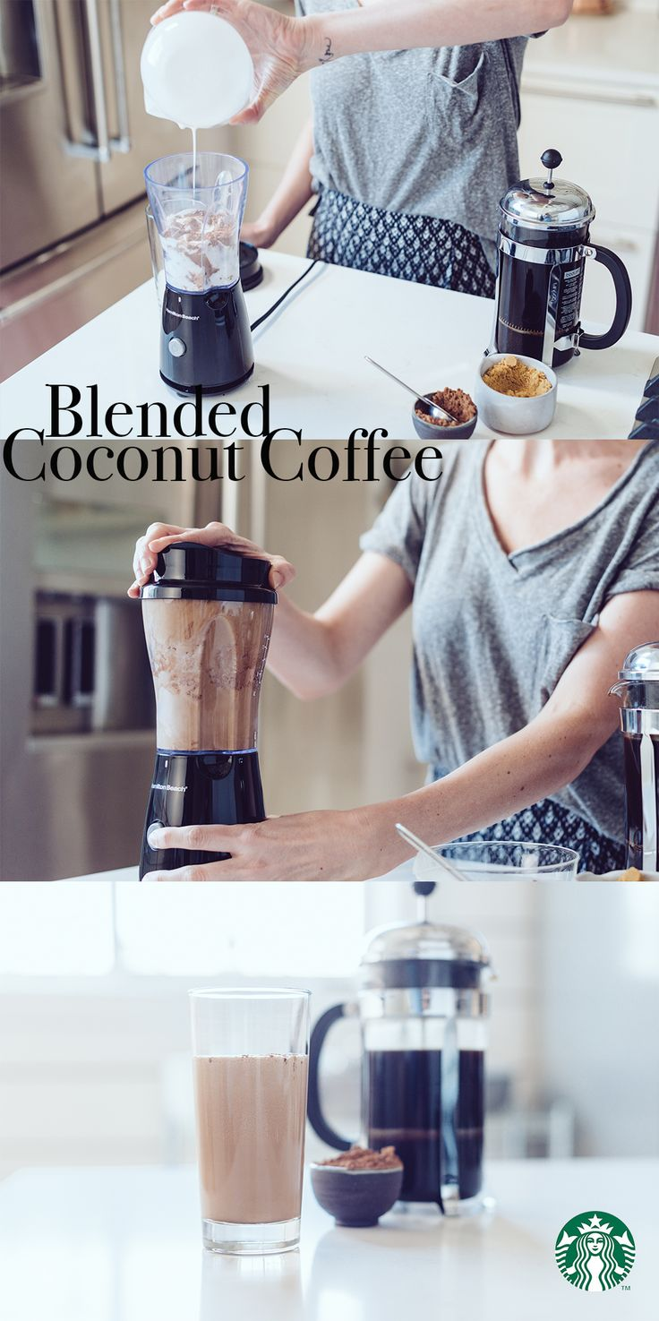 Blended Coconut Coffee: Add ½ cup ice cubes, ½ Tbsp brown sugar, ½ Tbsp cocoa powder, ½ cup light coconut milk and ½ cup strong coffee (try Starbucks Sumatra) to blender. Blend on high until smooth. Pour into a tall glass, serve and enjoy.