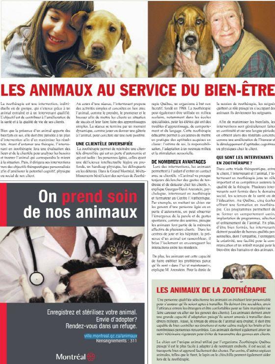 article zoothérapie