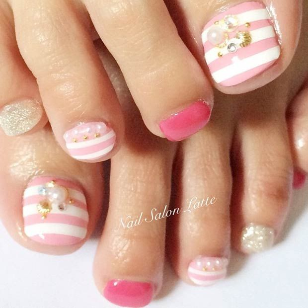 Pink and White Striped Toe Nail Design