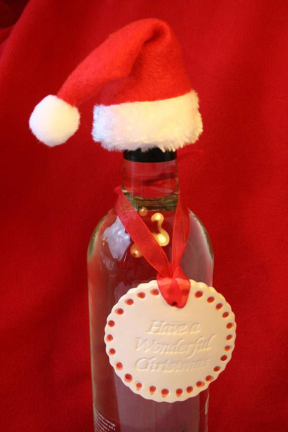 Have a Wonderful Christmas Wine Charm Label & Christmas Hat