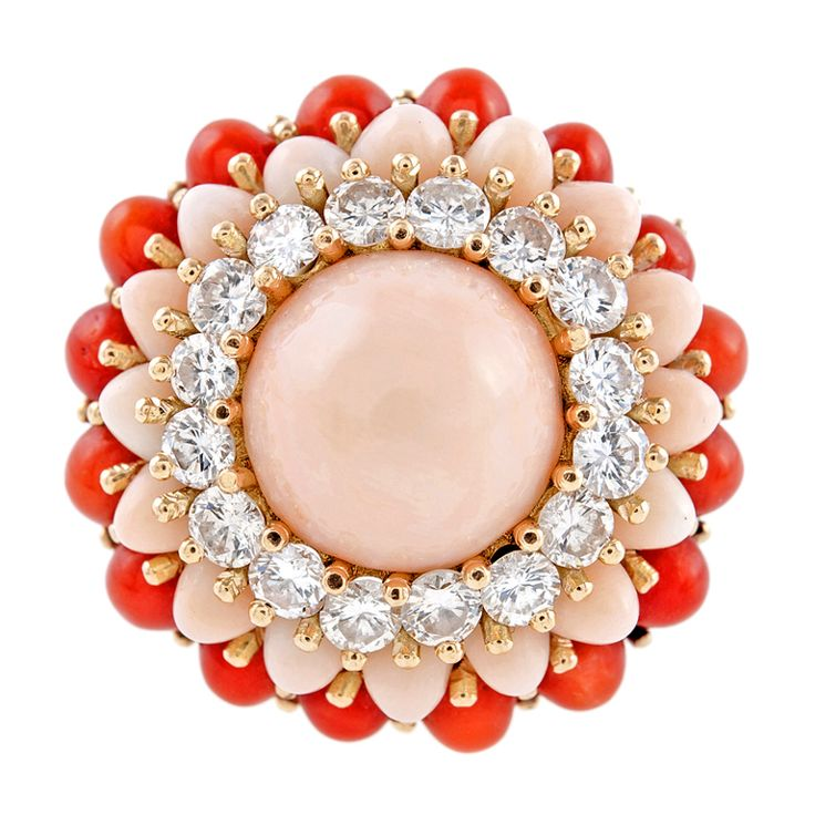 Diamond Pink & Red Coral Yellow Gold Dome Ring | From a unique collection of vintage cocktail rings at https://www.1stdibs.com/jewelry/rings/cocktail-rings/