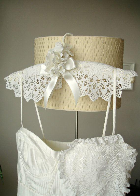 Wedding Dress Hanger With Vintage Handcrocheted by WHITEStardust, $28.00