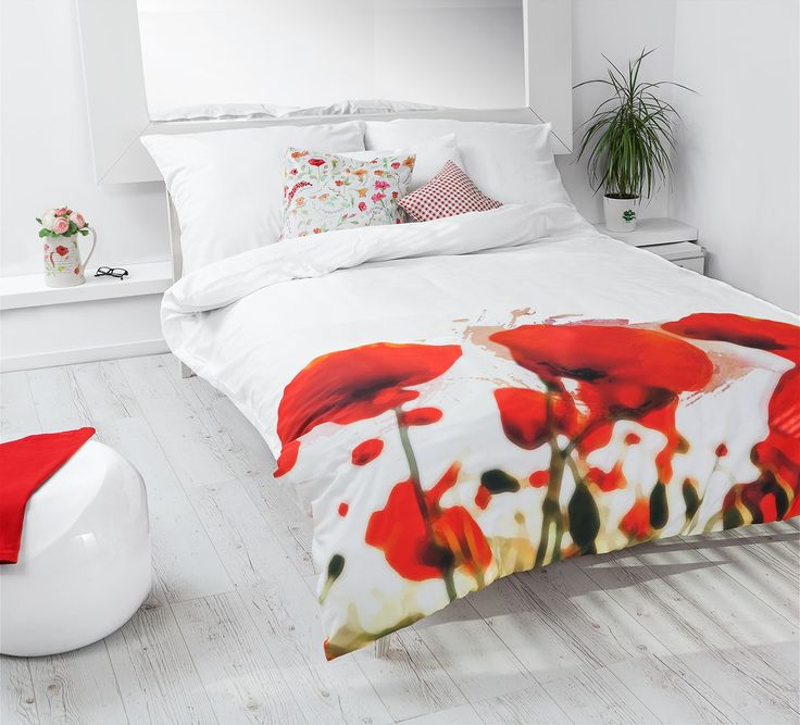 Red & white bedroom with White Pocket bedding #poppy