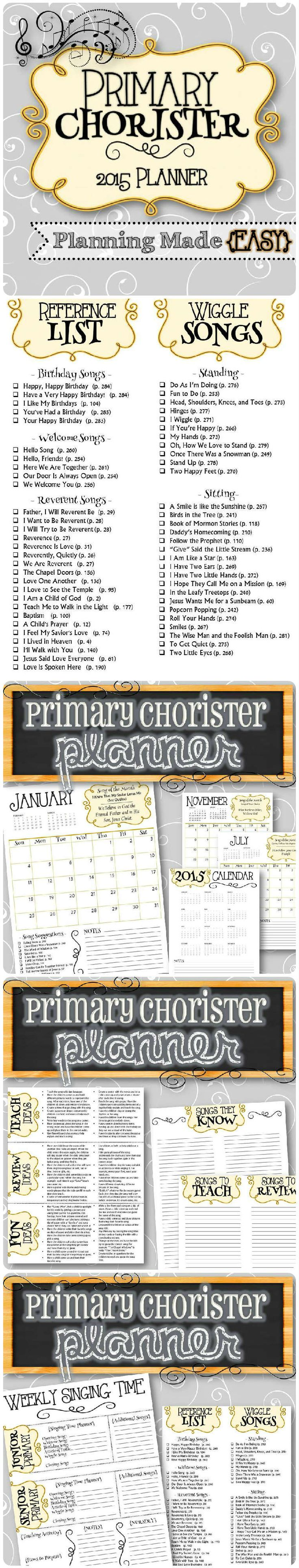 Primary Chorister planning done for you with the 2015 curriculum! An all in one planner that tells you the monthly song and theme, along with song suggestions by month, teaching ideas, reference lists, planning pages, etc. Everything in one convenient place! Perfect for Choristers and Subs! ✫ FREEBIE✫ Songs Reference List, visit: http://bit.ly/1t2HHLW