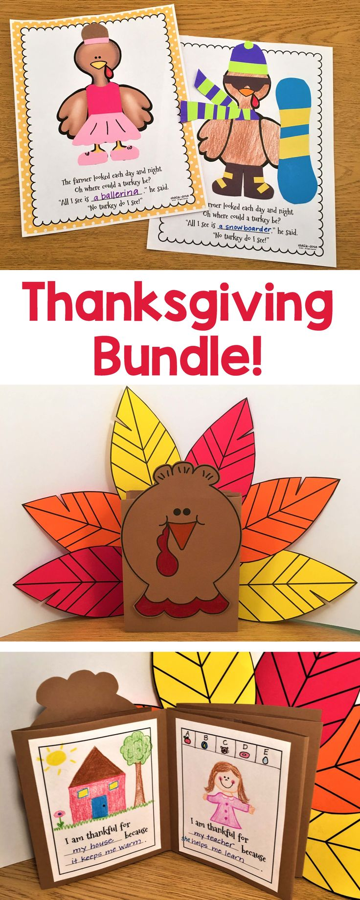 Save over 25% with this cute Thanksgiving bundle. It includes fun writing, art, and math printables and activities to celebrate Thanksgiving!