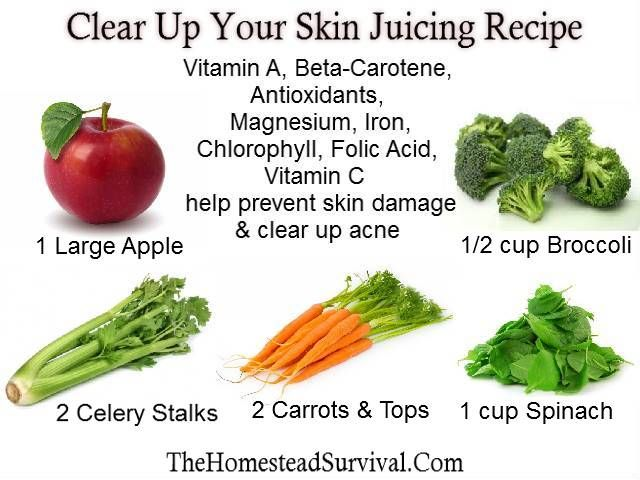 Clear up your Skin Juicing Recipe-1 large apple, 2 celery stalks, 2 carrots and tops, 1 cup spinach