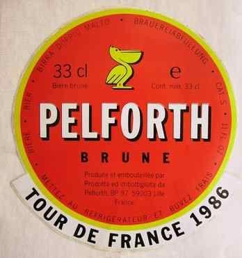 C'est en 1961 que les brasseries Le Pélican se décident de faire broder sur le maillot des coureurs cyclistes le nom de la bière Pelforth...