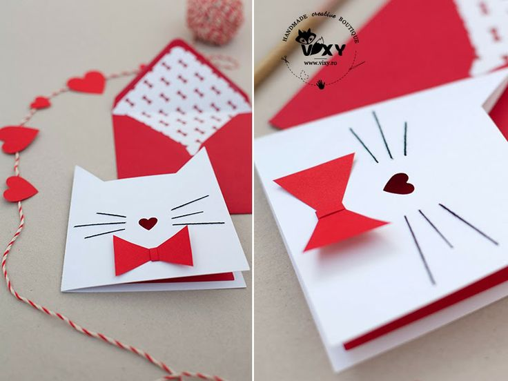 Paper cut card - cat with heart shaped nose and bow tie.