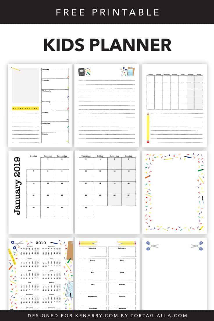 Kids Planner Printables Free Calendar Pages Student Planner Printable Kids Planner School Planner Printables