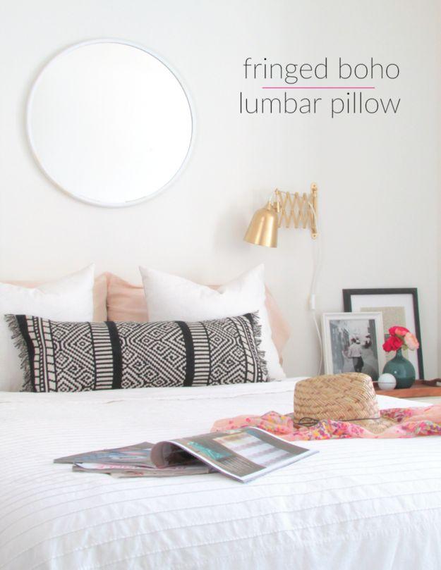 Stitch a table runner into a lumbar pillow.