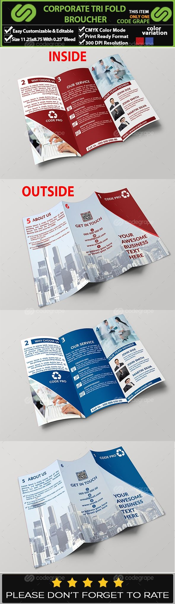Corporate Trifold Brochure on @codegrape. More Info: https://www.codegrape.com/item/corporate-trifold-brochure/11327