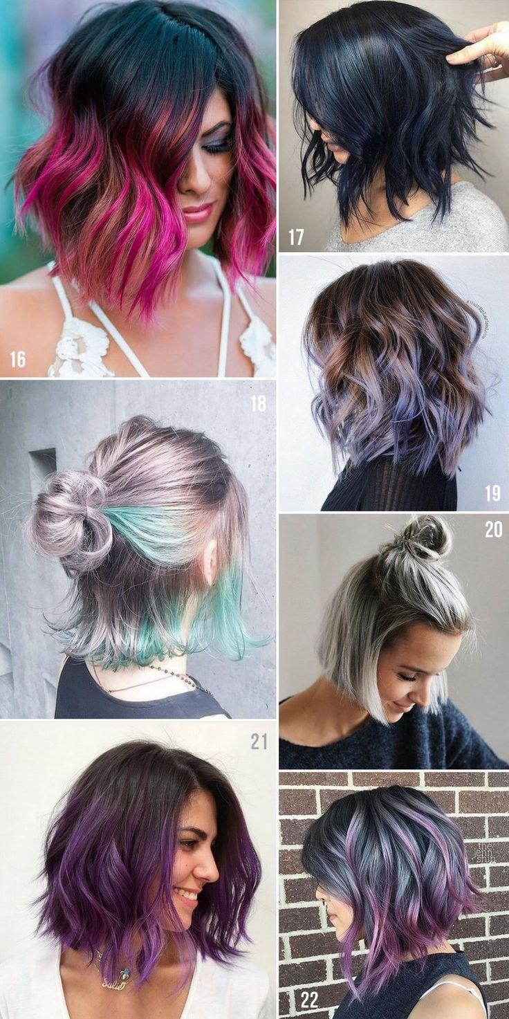 Corte de cabelo curto colorido com mechas, balayage, californiana ou global.
