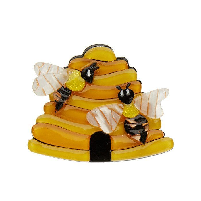 Honey, I'm Home (Erstwilder Yellow Resin Beehive Brooch)..Got to have it..  ☺