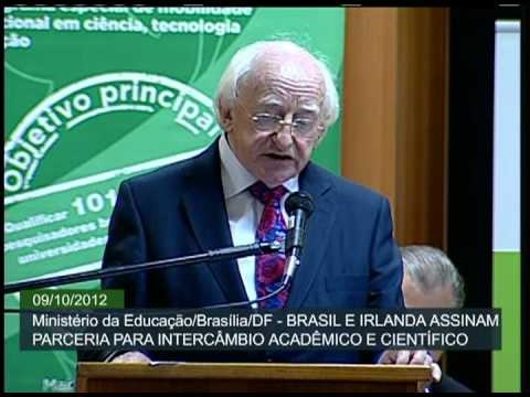 Irish President Michael D Higgins on an official visit to South America endorses agreements for the cooperation between the Ireland and Brazil in the third level education sector. President Higgins announced the participation of the Ireland in the 'Science Without Borders' program to facilitate the exchange of Brazilian undergraduate and postgraduate students to study in the areas of technology and science in Irish colleges and universities.