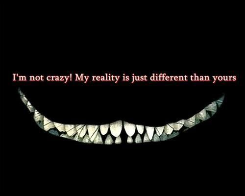 Im not crazy. My reality is just different than yours.