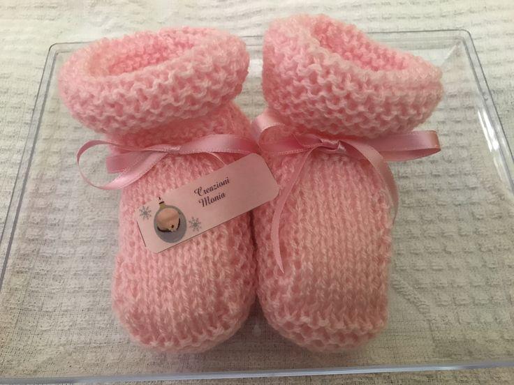 Scarpine lana rosa con fiocchetti raso