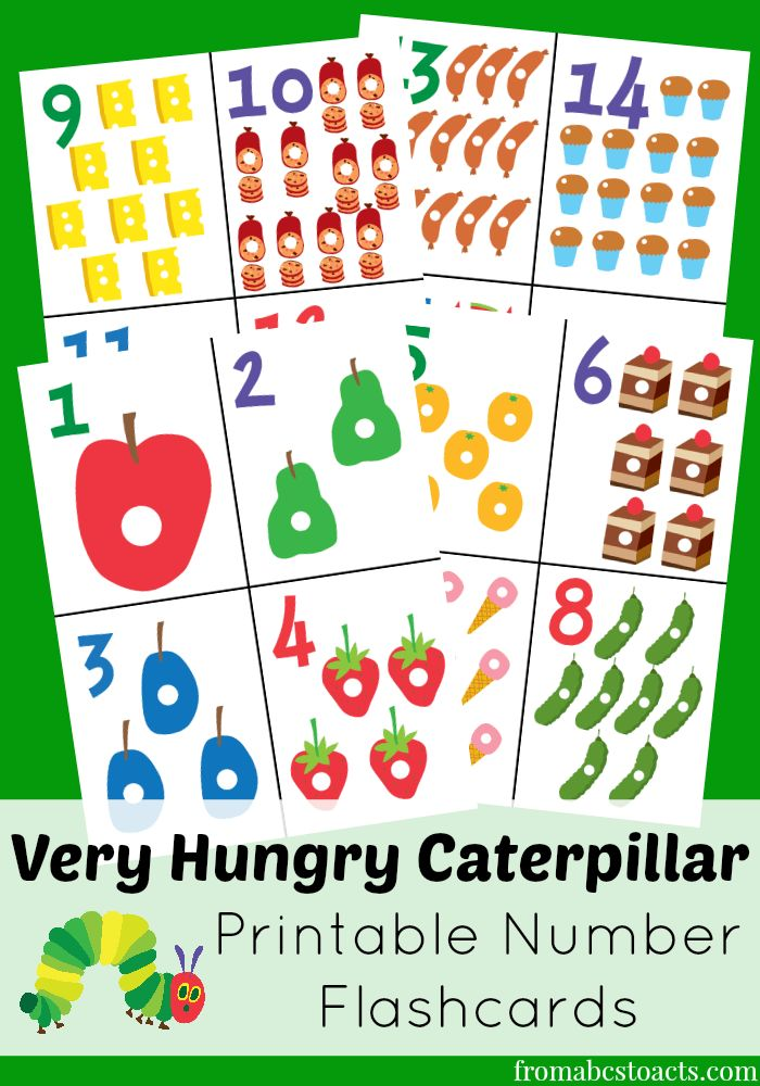 The Very Hungry Caterpillar Printable Number Flashcards - From ABCs to ACTs
