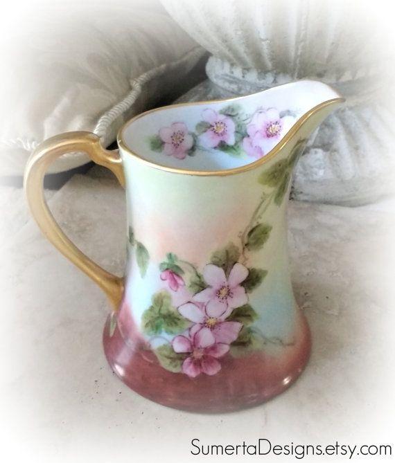 Antique floral creamer ~ antique creamer ~  handpainted hand painted ~ Art Nouveau creamer ~ 1920s creamer ~ antique pitcher antique jug