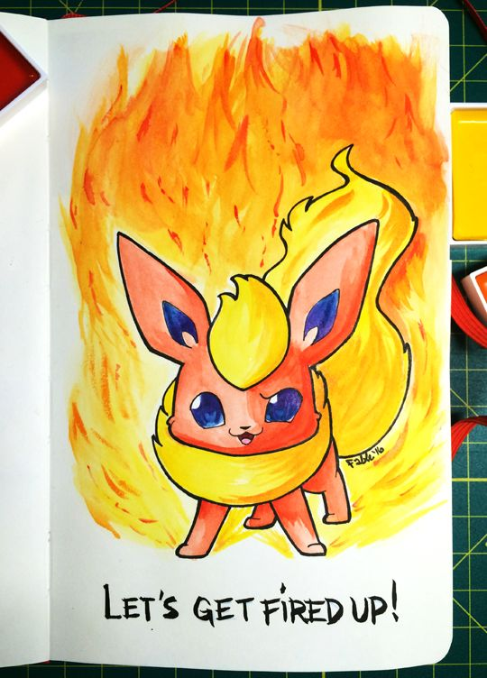 how to draw a cute flareon