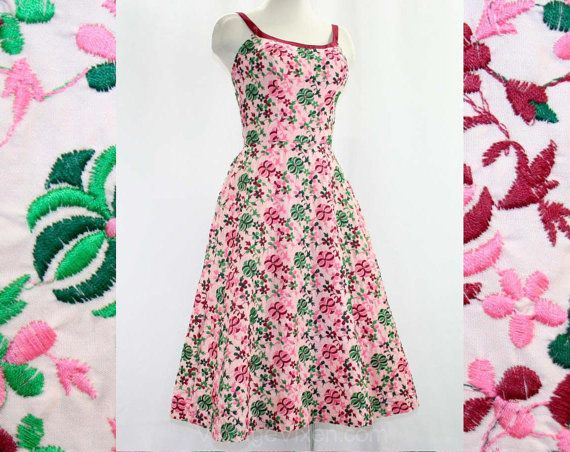 Wonderful 1950s Sun Dress  Pink  Burgundy  Emerald by vintagevixen, $119.99
