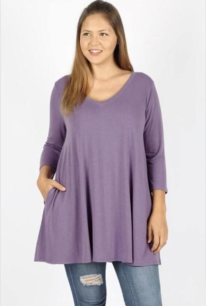 9bd7b39c221 Solid Tunic Top w/ Pockets - Lilac in 2019 | Plus Size Tops | Tops ...