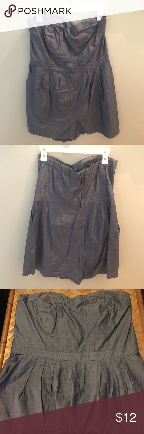 Mossimo supply co Chambray romper Mossimo Supply Co chambray romper. Size XL, zipper back 2 side pockets. Great condition like new no defects. Mossimo Supply Co Dresses