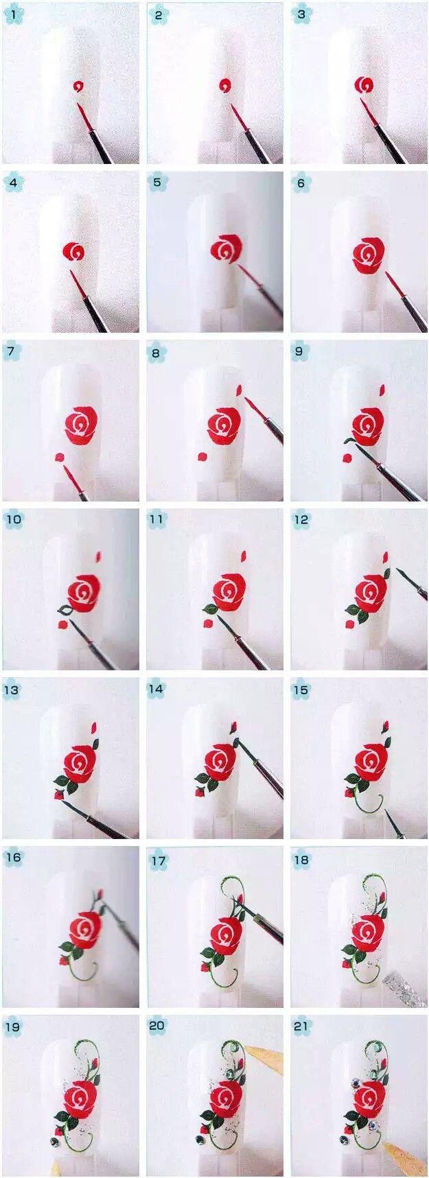Rose art nail design step by step