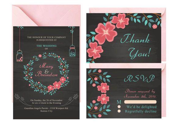 Mason Jar Wedding Invitation Blackboard by LoveArtsStationery